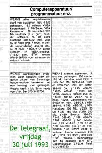Advertenties van Weans in De Telegraaf van 1993-07-30