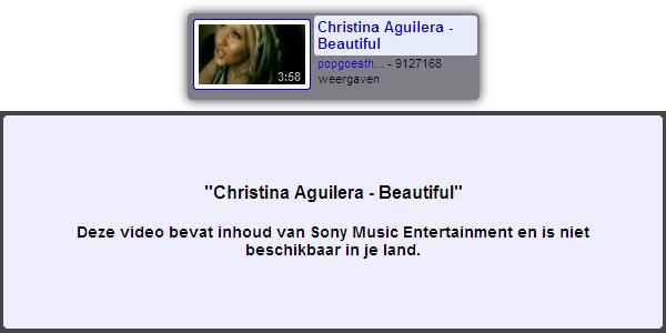 Christina Aguilera niet beschikbaar in je land