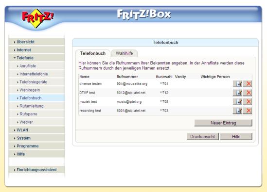 sip uri call telefoonboek