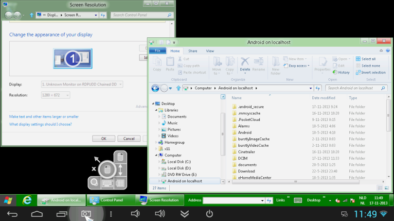 Windows 8 RDP in Android met aFreeRDP