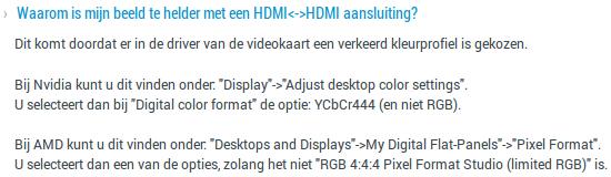 Iiyama FAQ: Waarom is mijn beeld te helder met een HDMI-HDMI aansluiting?