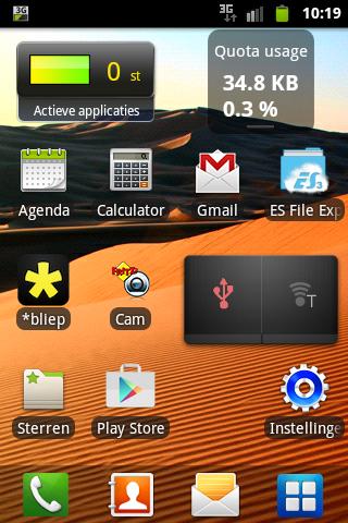 Samsung Gio MiFi homescreen